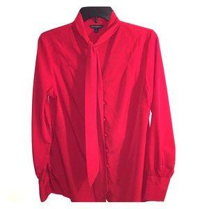 Cranberry Neck Tie Blouse by BANANA REPUBLIC